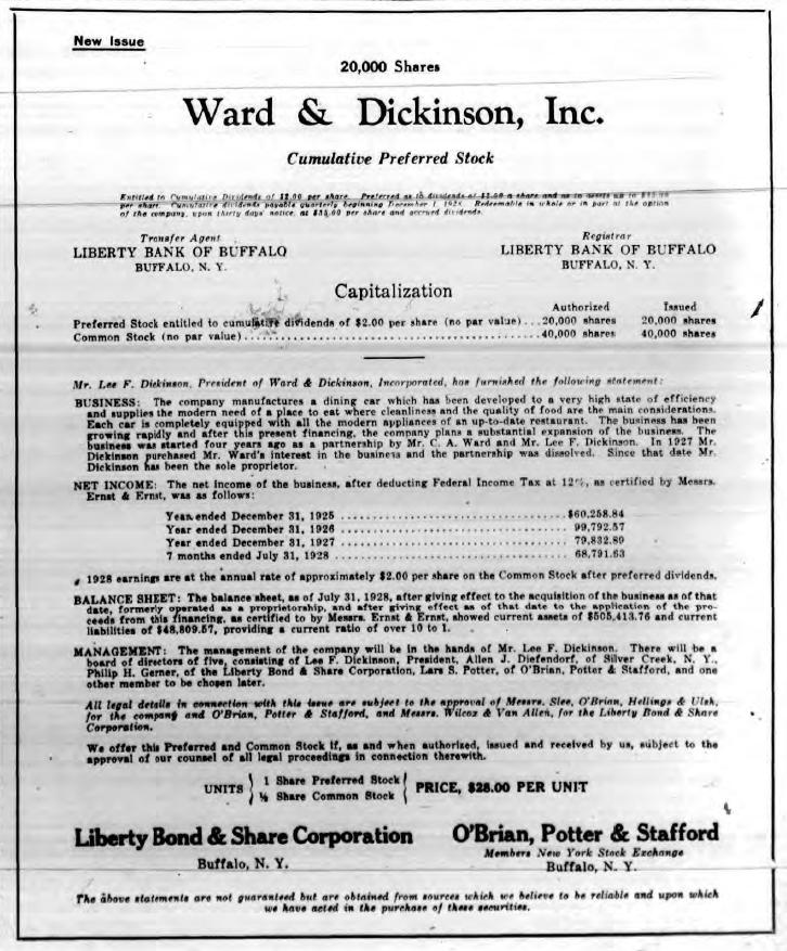 ward & Dickinson stock advertisement